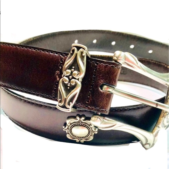 "Fossil 32"" Brown Leather Belt With Silver Accents"